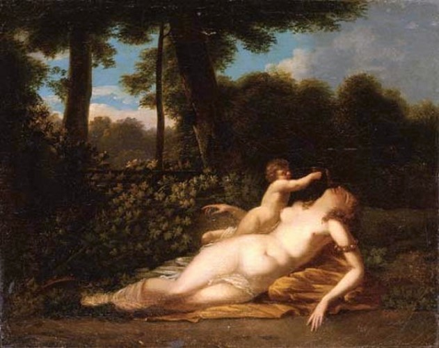 A Sleeping Nymph And Cupid