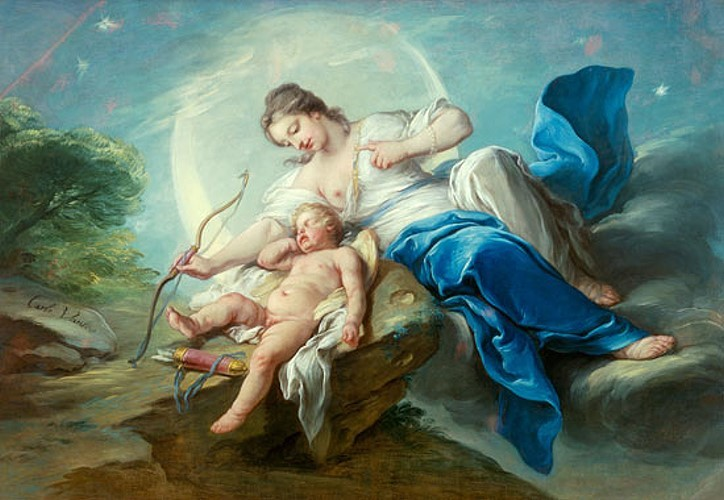 Charles-Amédée-Philippe van Loo -  Cupid is disarmed by Diana