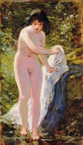 Nude Stepping into a Brook