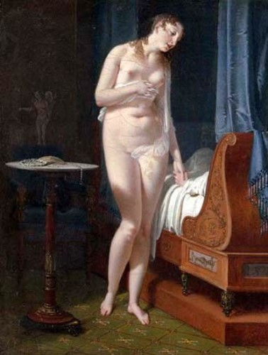 Wedding Eve - a nude woman standing by a bedridden man